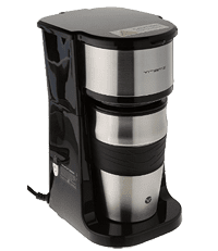 Vremi Single Cup Coffee Maker - includes 14 oz Travel Coffee Mug and Reusable Filter - Personal 1 Cup Drip Coffee Maker. Black and Silver Single Serve One Cup Coffee Dripper